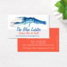 Orange & Blue lobster seafood grill business card
