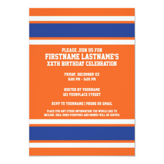 Orange Blue Sports Jersey with Name and Number 13 Cm X 18 Cm Invitation Card