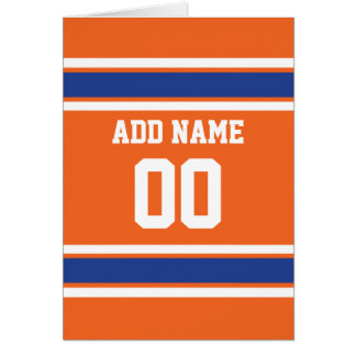Orange Blue Sports Jersey with Name and Number Greeting Card