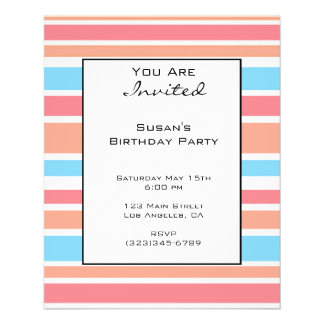 Orange Blue Striped Party Invites Personalized Flyer