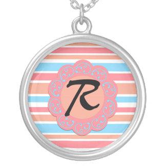 Orange Blue Stripes Monogram Round Pendant Necklace