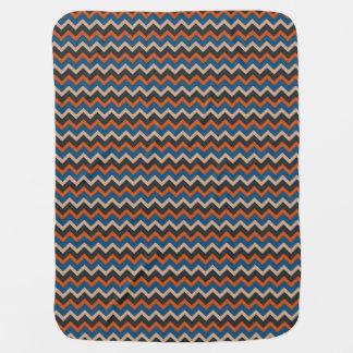 Orange, Blue, White & Black Chevron Buggy Blanket