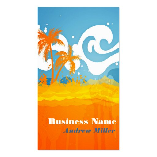 Orange Blue White Bright Beach Abstract Business Card Templates