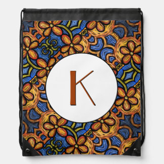 Orange Blue & White Floral Pattern Monogrammed Drawstring Bag
