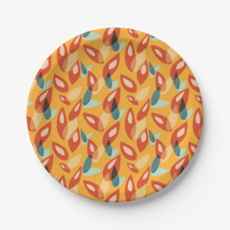 Orange Blue Yellow Abstract Autumn Leaves Pattern Paper Plate