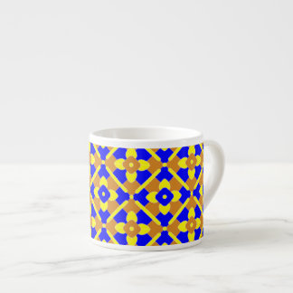 Orange Blue Yellow Spanish Style Tile Pattern Espresso Cup