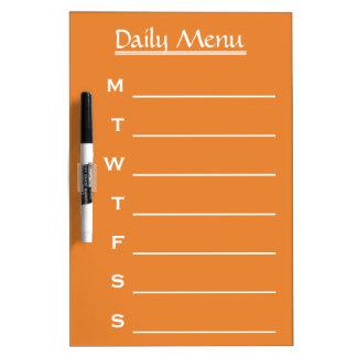 Orange board Daily Menu Weekly Menu