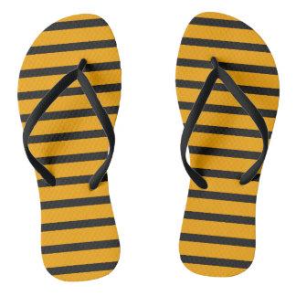 Orange Bold Black Stripes Minimal Bright Stylish Thongs