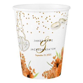 Orange Bouquet Flower Wedding Paper Cup