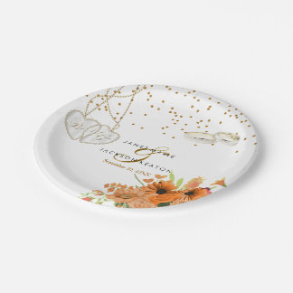 Orange Bouquet Flower Wedding Paper Plate