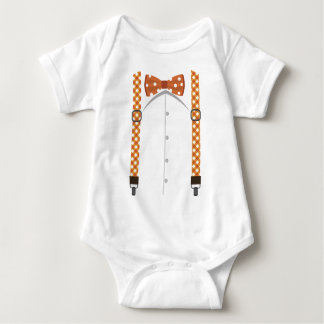 Orange Bow Tie & Suspenders Bodysuit