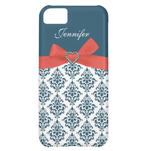 Orange Bow with Teal Damask iPhone Case iPhone 5C Cases