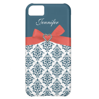 Orange Bow with Teal Damask iPhone Case iPhone 5C Case