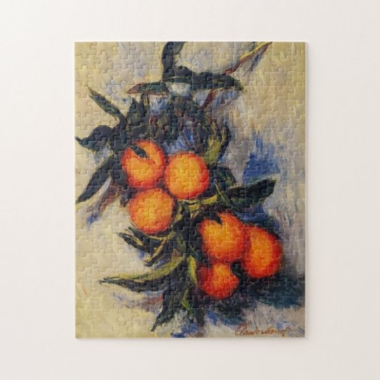 Orange Branch Bearing Fruit Monet Fine Art Jigsaw Puzzle