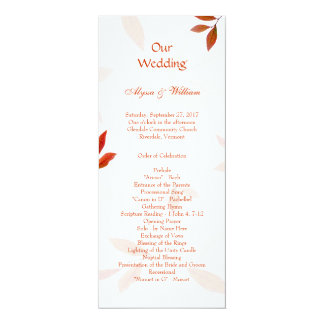 Orange Branches Fall Wedding Tall Program Template