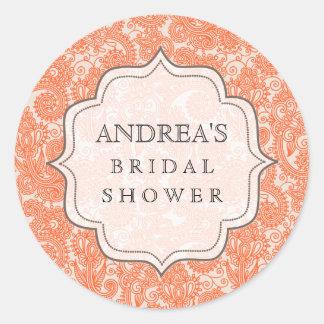 Orange Bridal Shower Dessert Table Tag Label Sticker