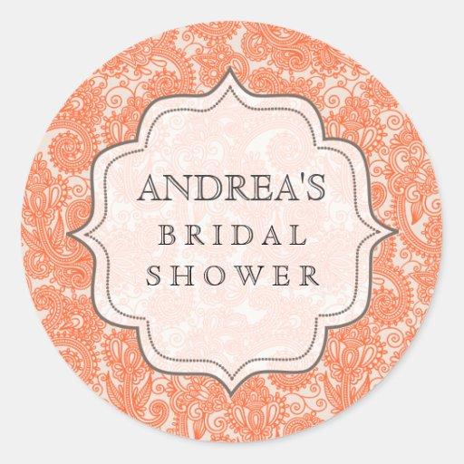 Orange Bridal Shower Dessert Table Tag Label Stickers