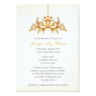 "Orange Bridal Shower Invitations 5"" X 7"" Invitation Card"