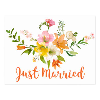 Orange Bridal Shower Lily Flowers Pink Yellow Postcard