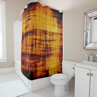 Orange Brown Abstract Grunge Texture Shower Curtain