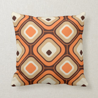 Orange, brown and beige squares cushion