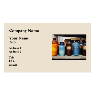 Orange, Brown and Blue Bottles of Chemicals Business Cards