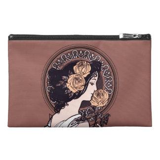 Orange brown art nouveau travel accessory bag