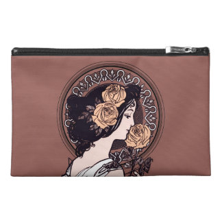 Orange brown art nouveau travel accessory bags