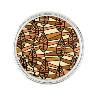 Orange Brown Autumn Leaves Pattern Lapel Pin