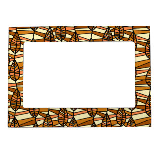 Orange Brown Autumn Leaves Pattern Magnetic Picture Frame