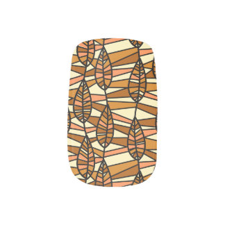 Orange Brown Autumn Leaves Pattern Minx Nail Art