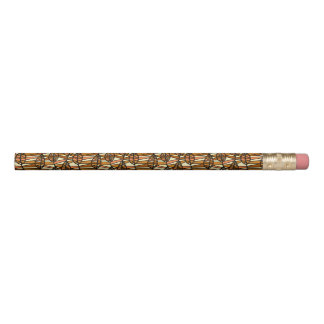 Orange Brown Autumn Leaves Pattern Pencil