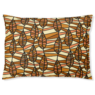 Orange Brown Autumn Leaves Pattern Pet Bed