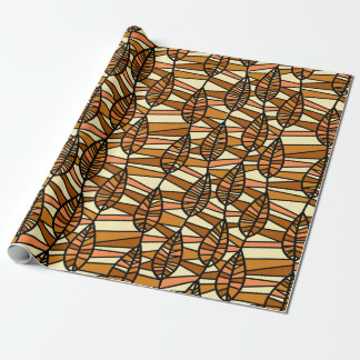 Orange Brown Autumn Leaves Pattern Wrapping Paper