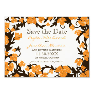 Orange Brown Autumn Leaves Save the Date Card