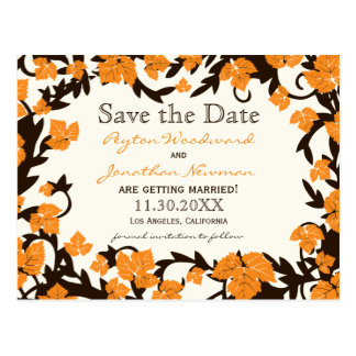 Orange Brown Autumn Leaves Save the Date Postcard