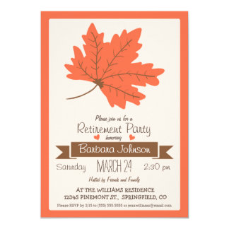 Orange & Brown Fall Leaf Retirement Party Card