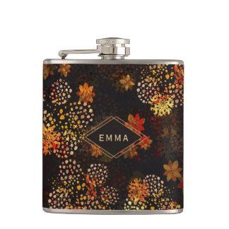 Orange & brown floral design with name hip flask
