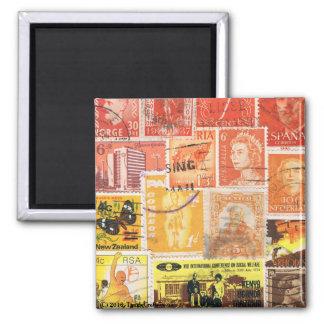 Orange Brown Fridge Magnet, Hippie Boho Travel Art Square Magnet