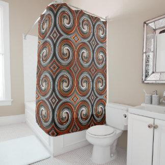 Orange Brown Gray Abstract Swirl Pattern Shower Curtain