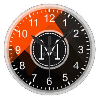 Orange Brown Mosaic Modern Monogram Large Clock