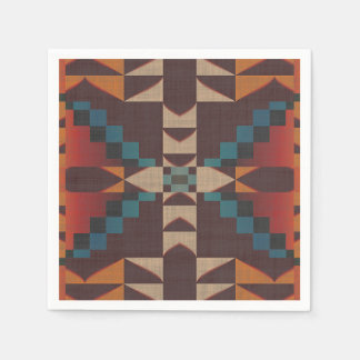 Orange Brown Red Teal Blue Eclectic Ethnic Art Paper Napkin
