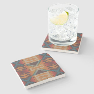 Orange Brown Red Teal Blue Eclectic Ethnic Art Stone Coaster