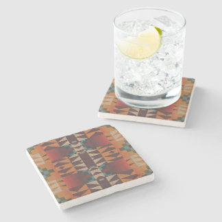 Orange Brown Red Teal Blue Eclectic Ethnic Look Stone Beverage Coaster
