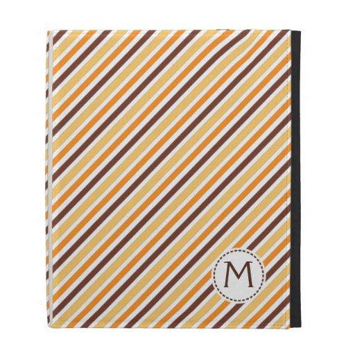 Orange brown stripes monogram initial iPad folio iPad Folio Cover