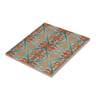 Orange Brown Turquoise Blue Eclectic Ethnic Look Ceramic Tile