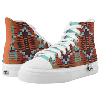 Orange Brown Turquoise Blue Eclectic Ethnic Look High Tops