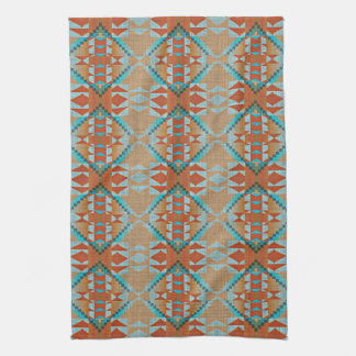 Orange Brown Turquoise Blue Eclectic Ethnic Look Tea Towel