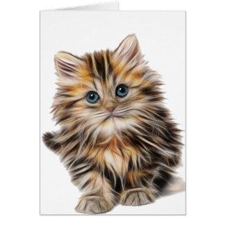 orange brown white serious, sad, cat illustration card