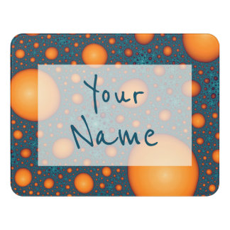 Orange bubbles. Add your name or custom text. Door Sign
